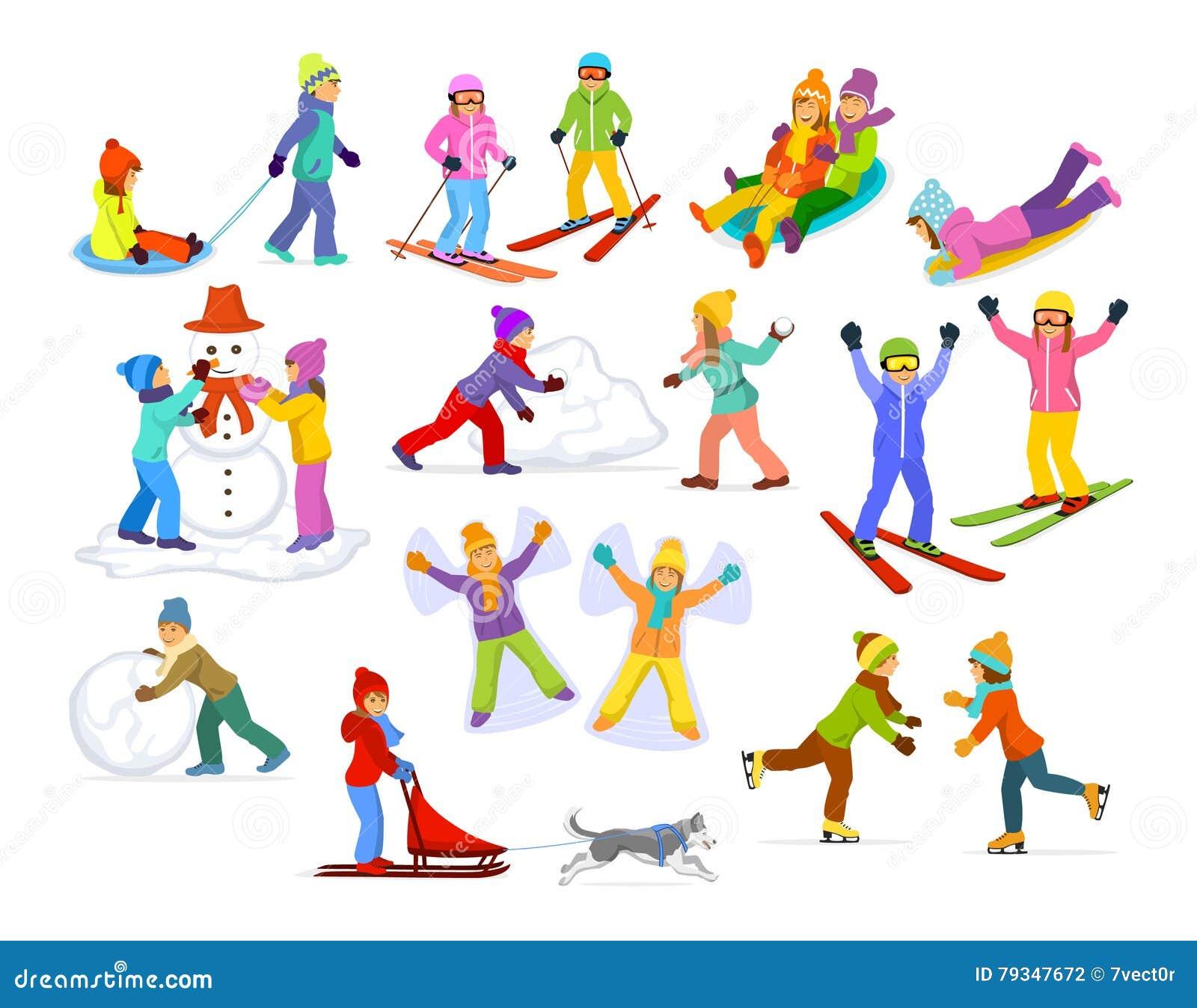 享受冬天在雪和冰的孩子乐趣活动