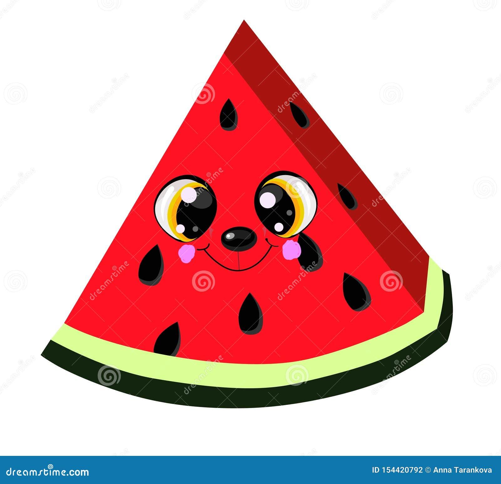 享受夏季的逗人喜爱的动画片西瓜