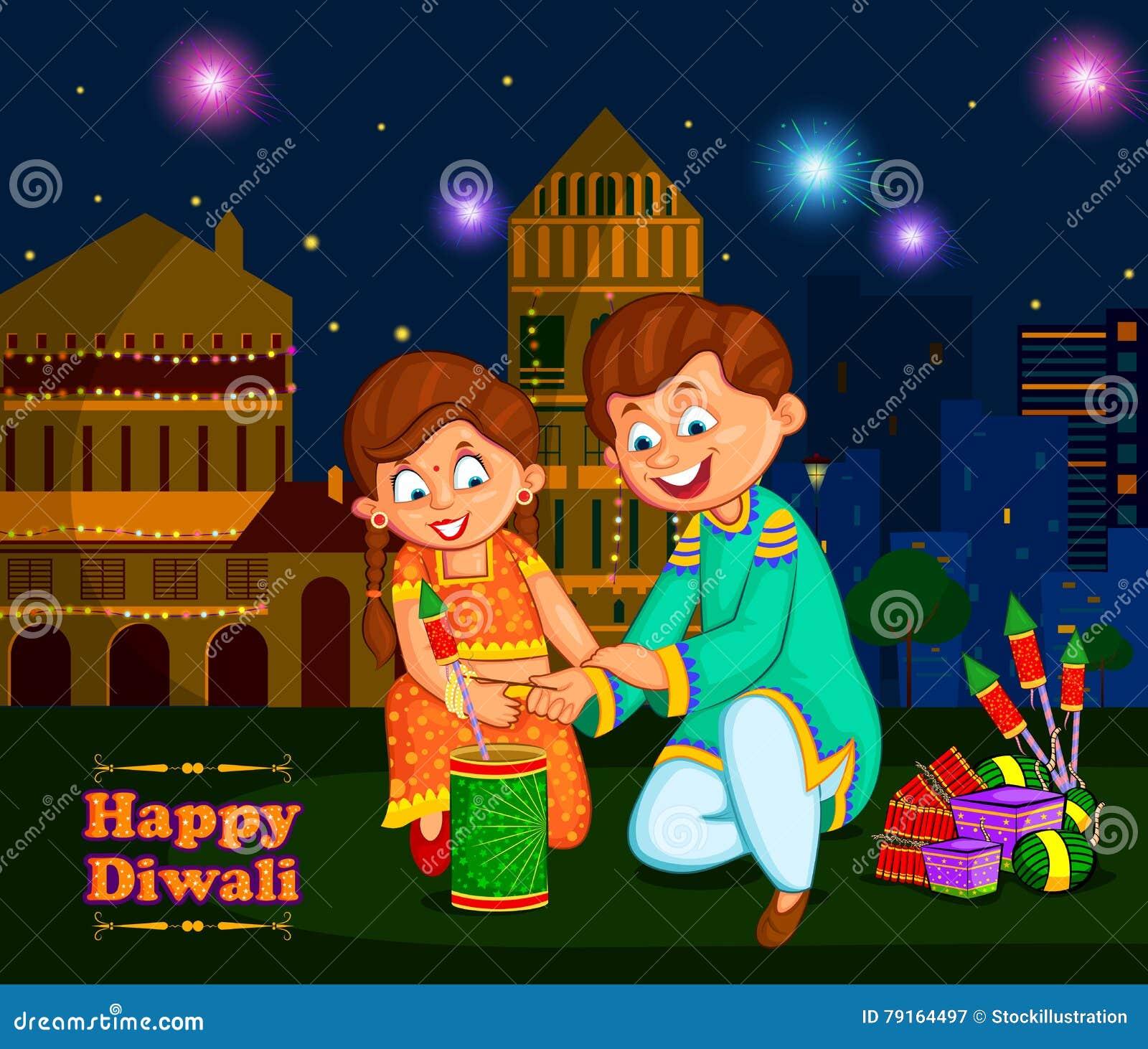 享用爆竹的孩子庆祝印度的屠妖节节日