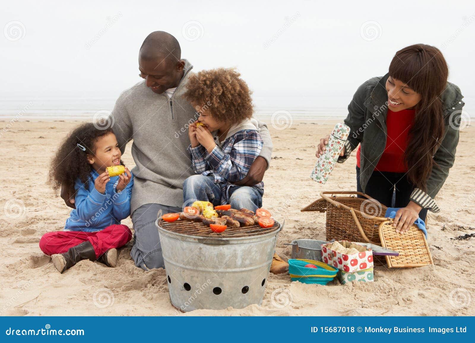 享用系列年轻人的烤肉海滩