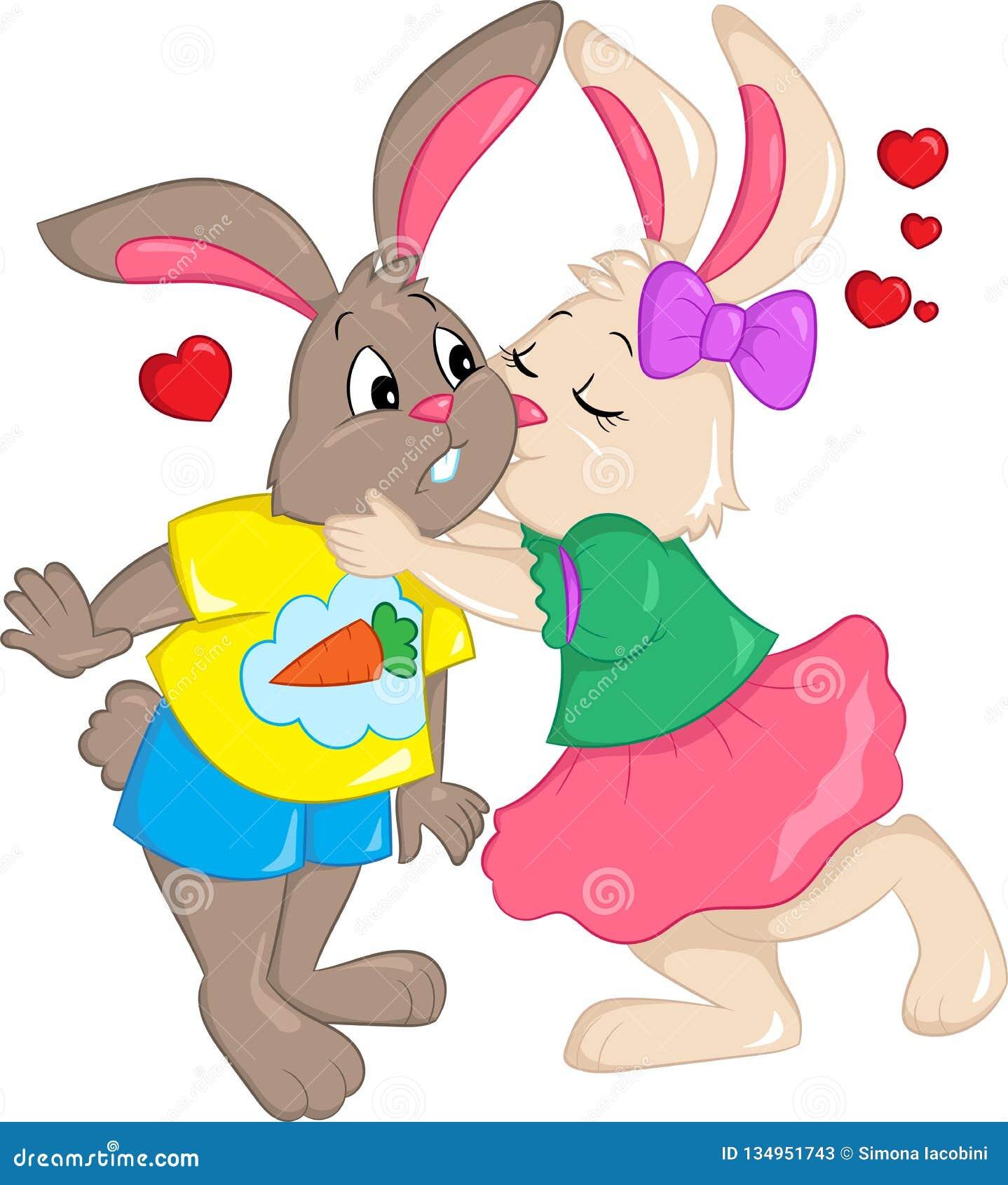 亲吻,与心脏的两三只兔子的彩色插图在天空中,儿童图书、情人节或者复活节卡片的,