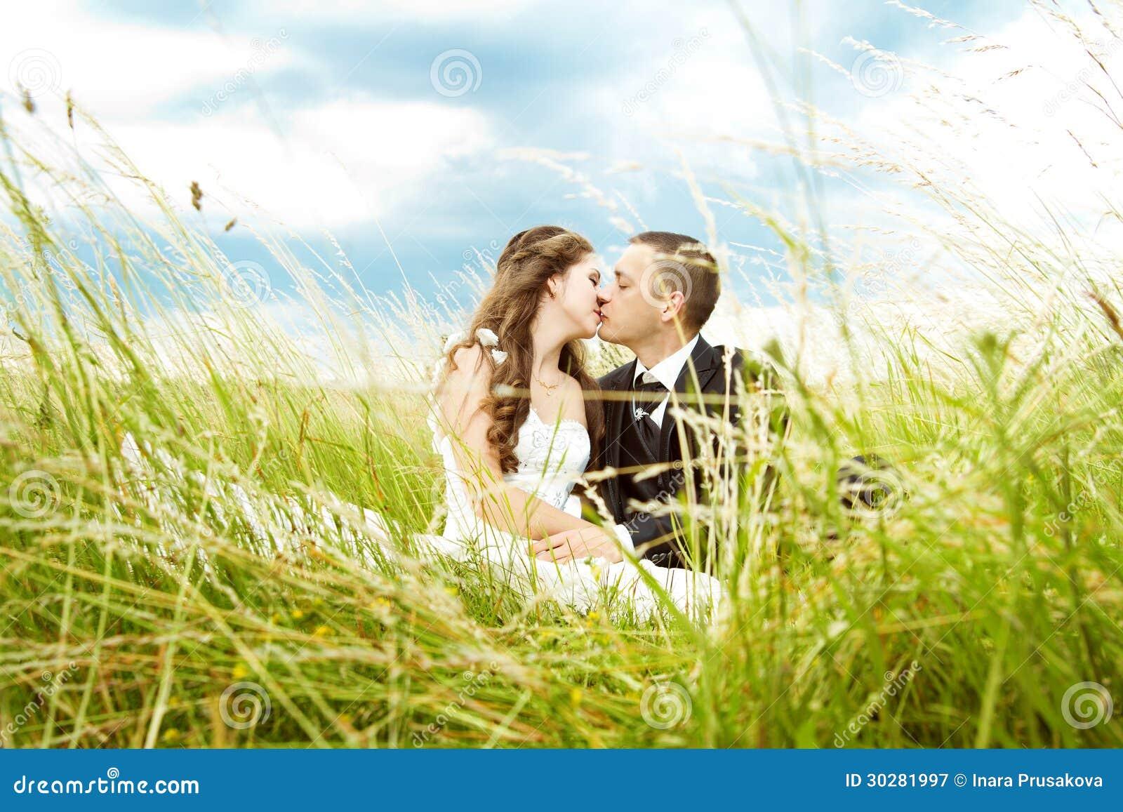 亲吻在草的婚礼夫妇、新娘和新郎