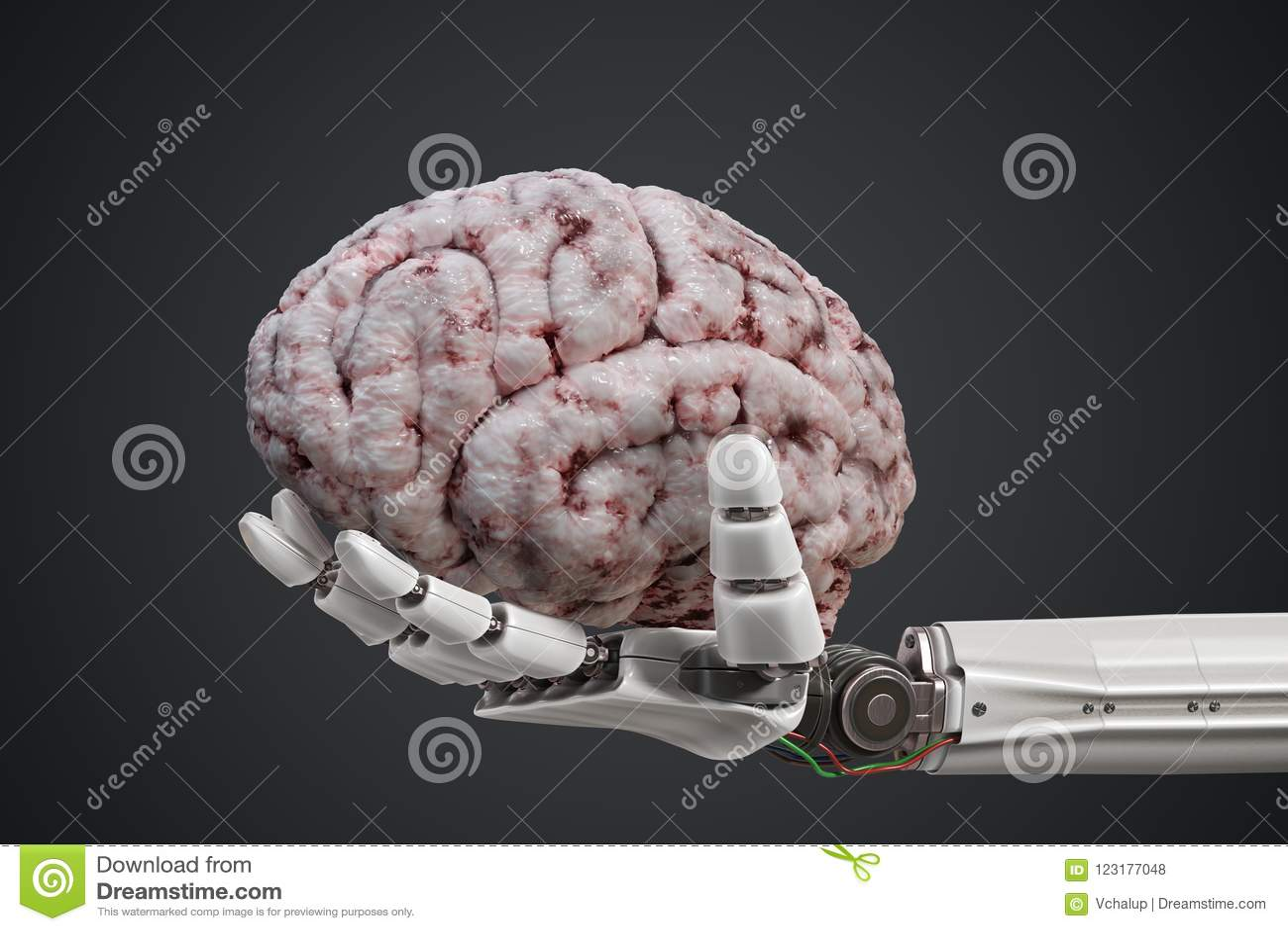 人为脑子巡回概念电子情报mainboard 机器人手拿着人脑 3d被回报的例证