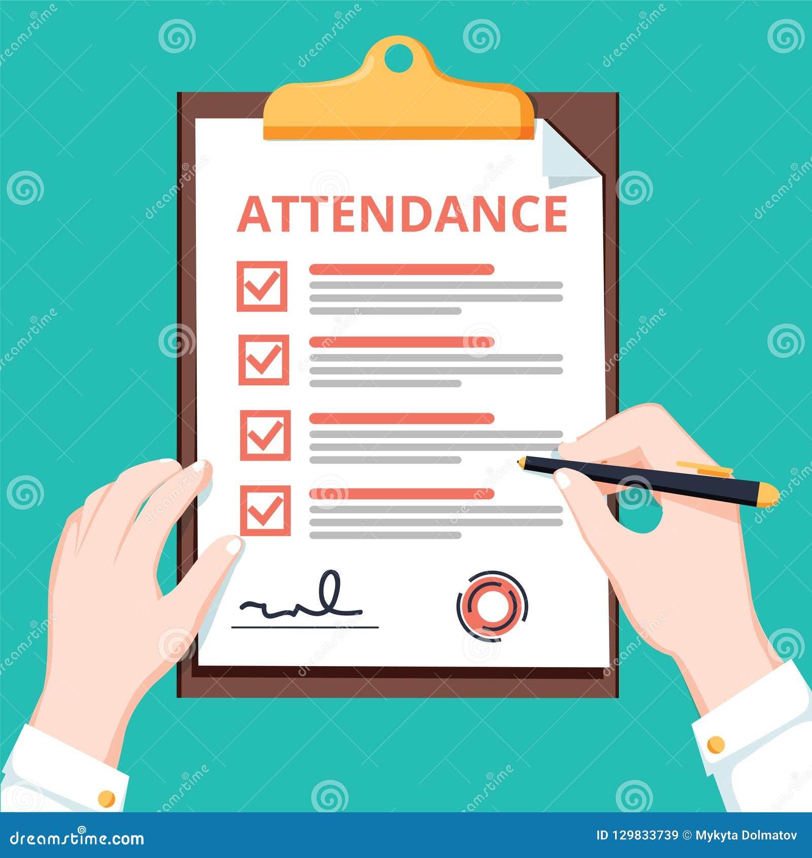 人举行有清单查询表的,勘测,剪贴板,任务单平的设计,例证出勤剪贴板
