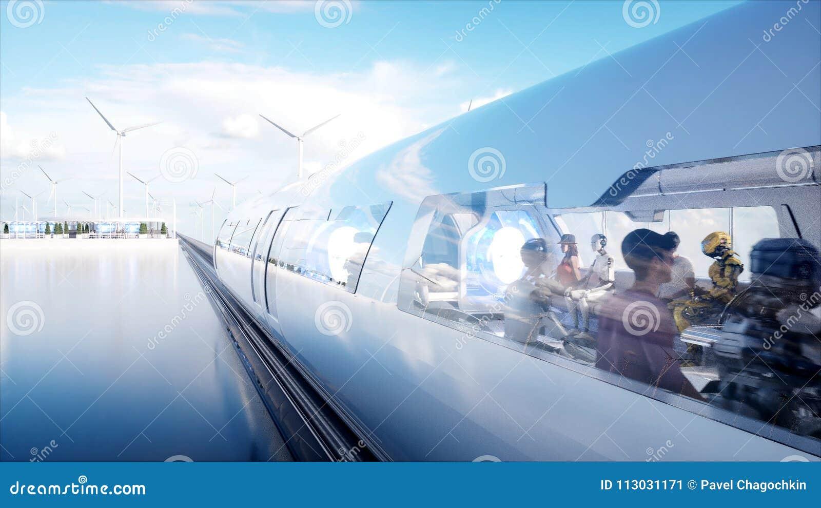 人们和机器人 科学幻想小说驻地 未来派单轨铁路车运输 未来的概念 3d翻译