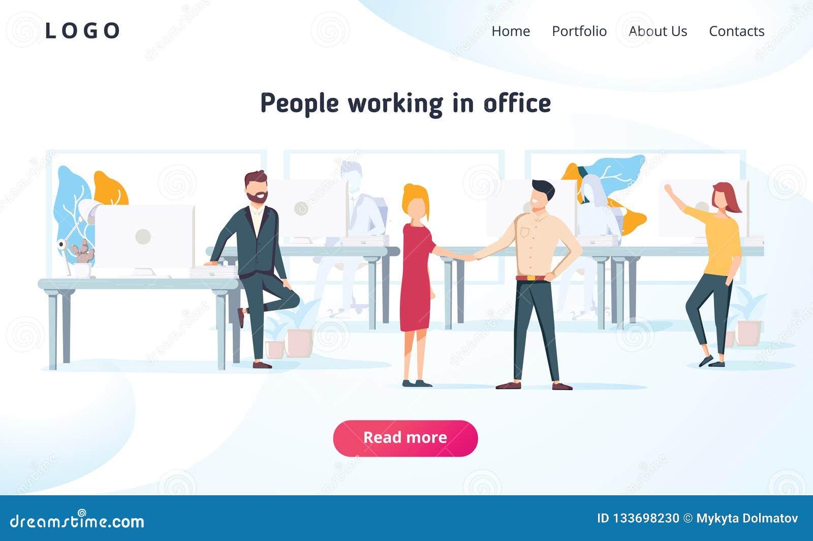 人们在办公室工作并且与设备互动 事务、工作流管理和办公室情况 着陆页
