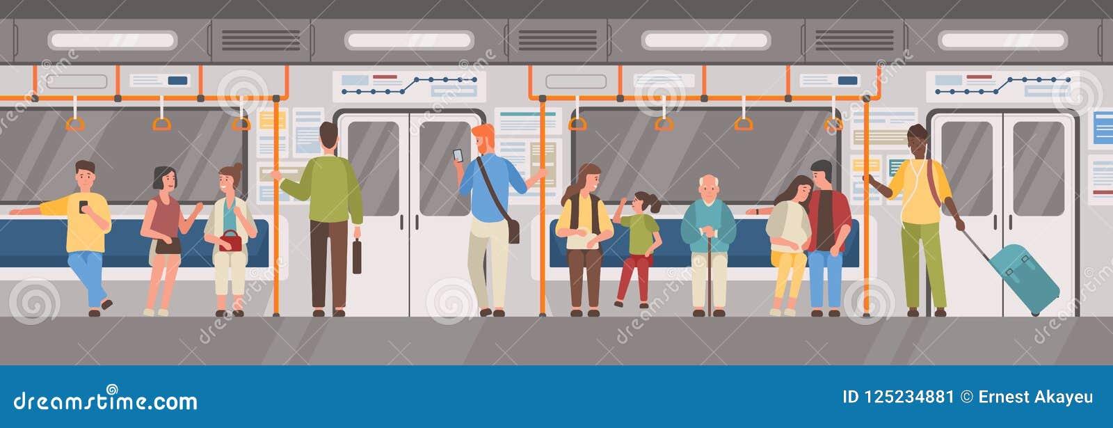 人们或城市居民在地铁、地铁、管或者地下列车车箱 男人和妇女公共交通工具的 男性和