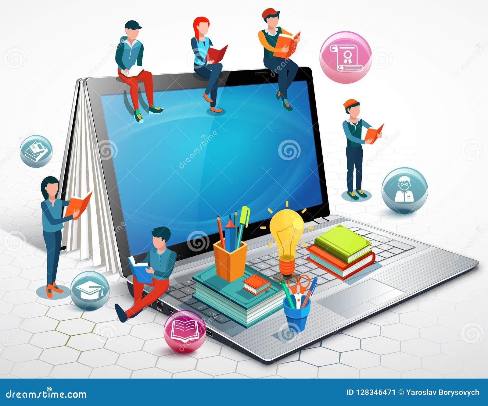 人们是阅读书坐膝上型计算机 网上教育概念 向量
