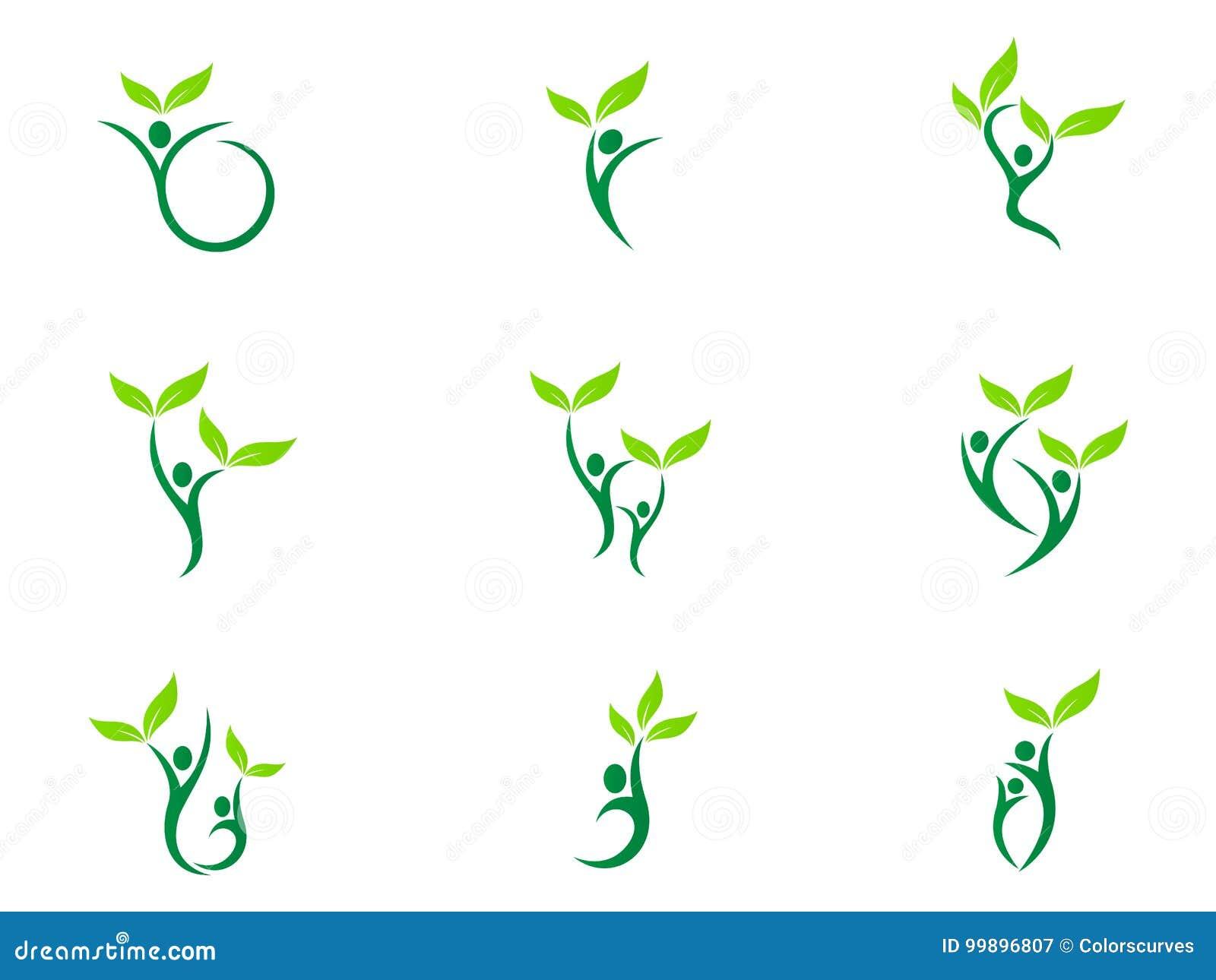 人健康商标医疗保健健身eco友好的绿色夫妇农业成功传染媒介标志象设计
