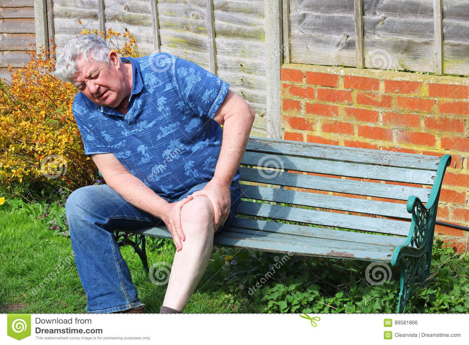 人前辈 痛苦的膝伤或关节炎
