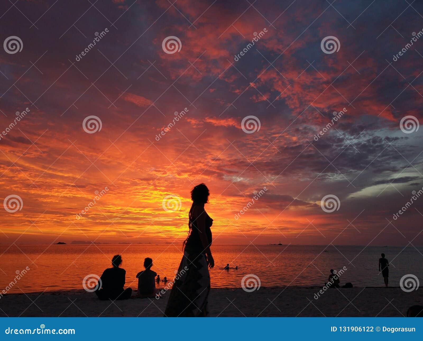 人剪影日落海滩的 女性剪影侧视图在热带海岸线的反对多彩多姿的热带日落