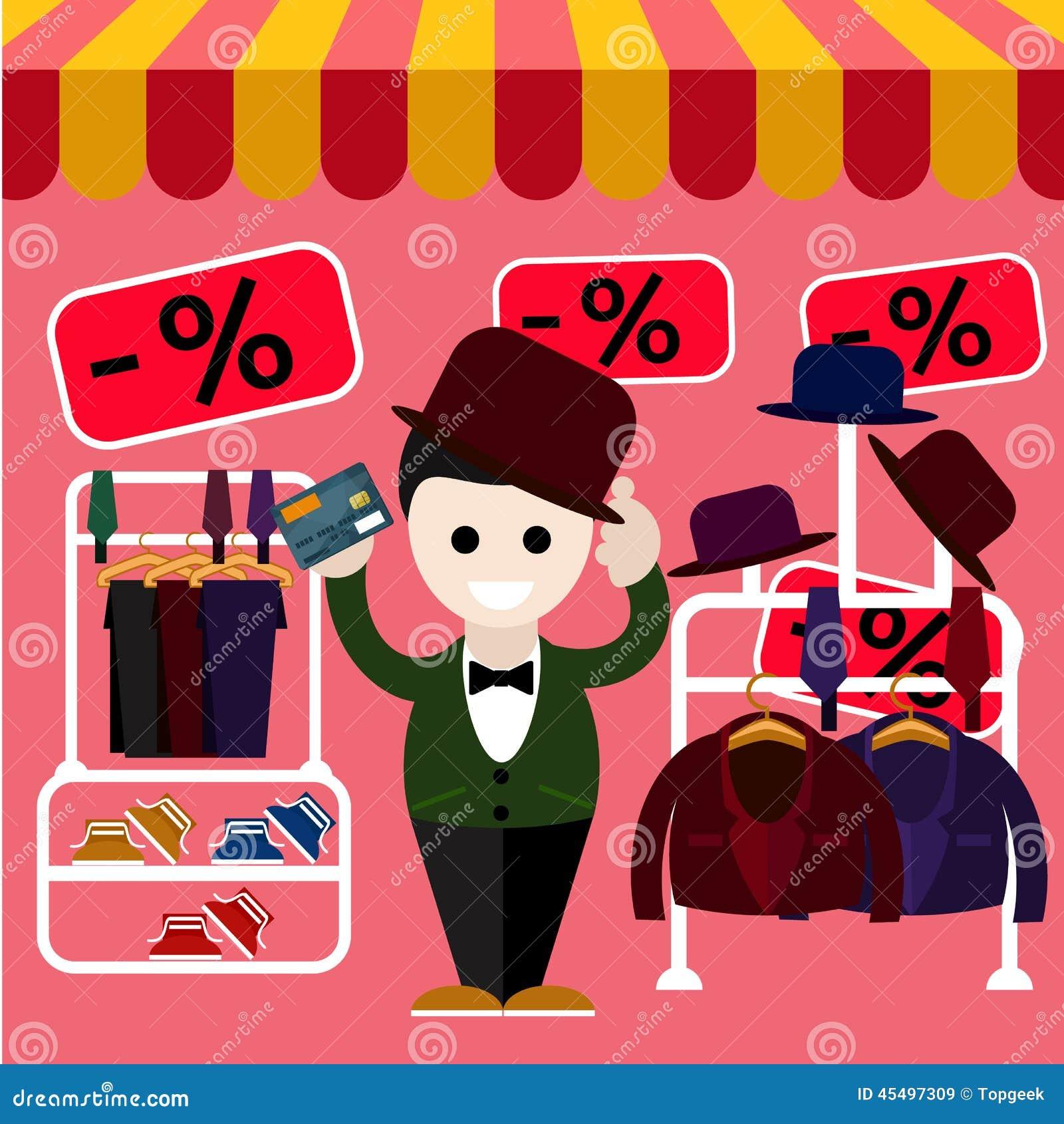 人在商店选择完善的衣裳和一个帽子