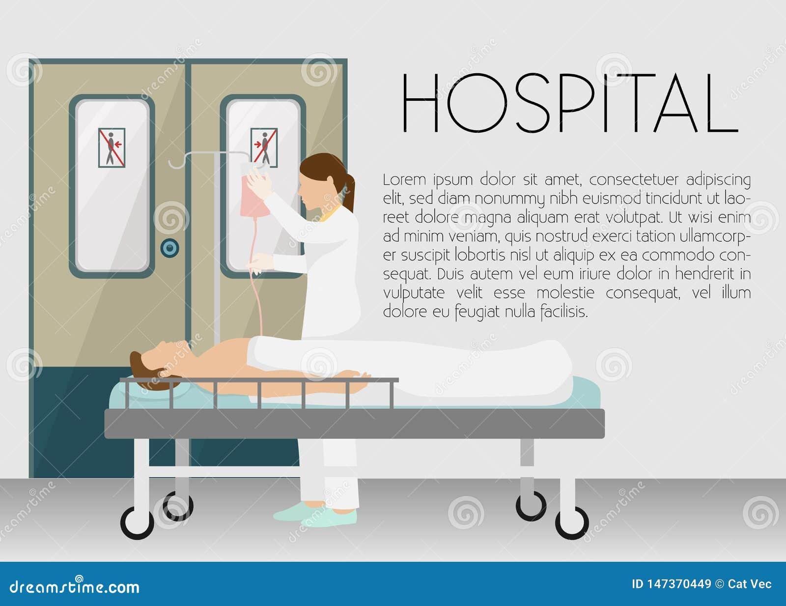 人在滴水横幅传染媒介例证的医院 在与infusor的床上的动画片年轻人 医疗,医疗保健