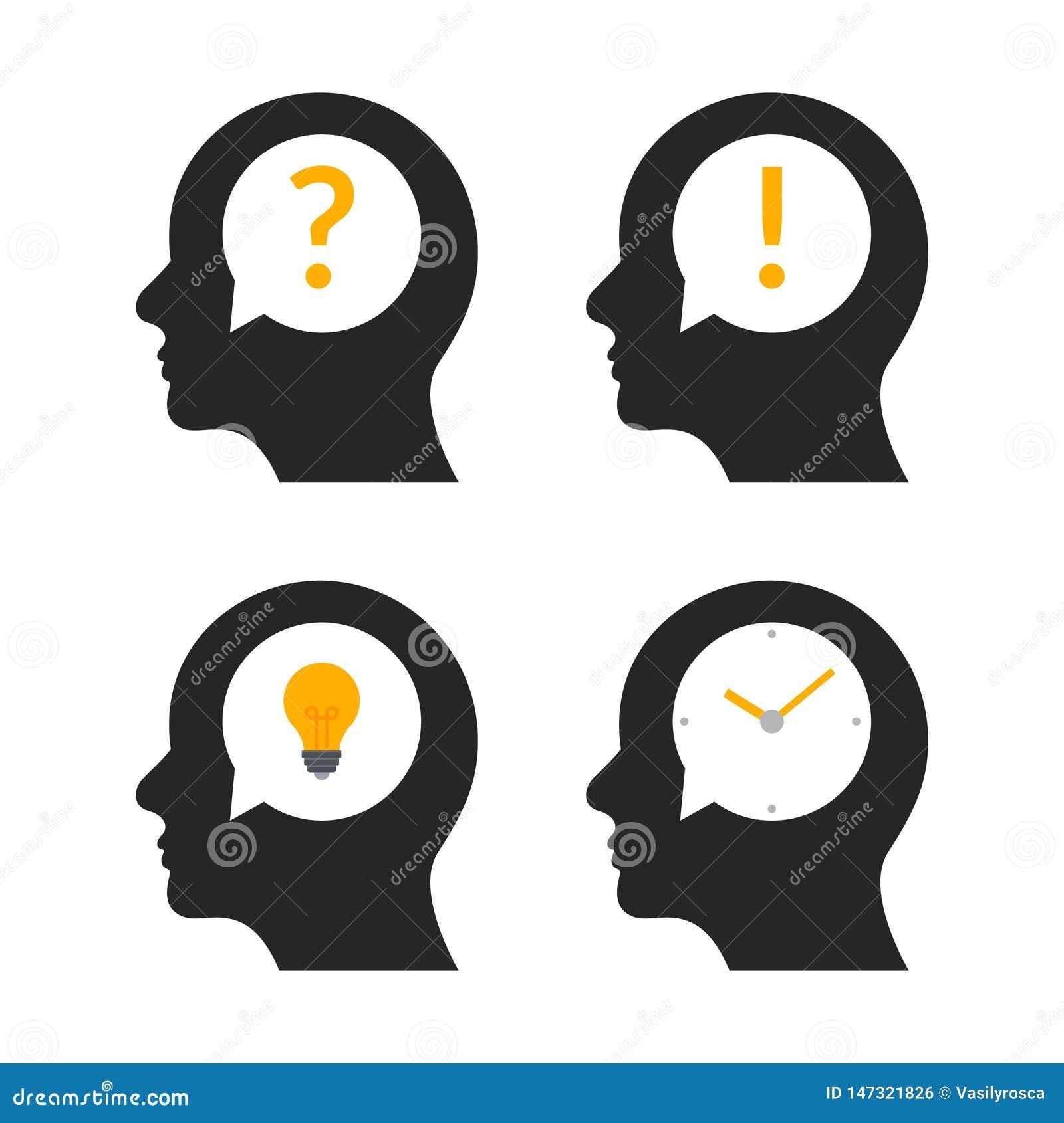 人头脑子想法外形 人企业问题人头脑创造性的例证象