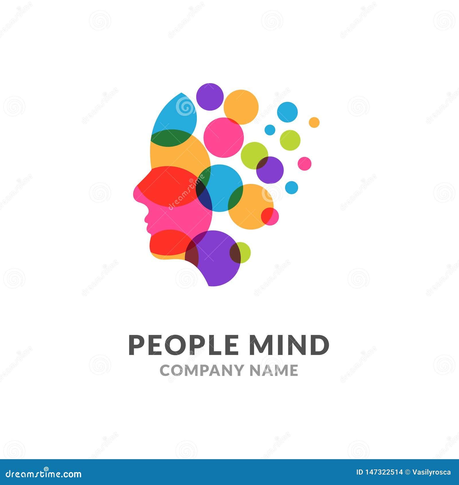 人头面孔商标,创造性的脑子人 数字外形面孔创新智力头脑设计商标