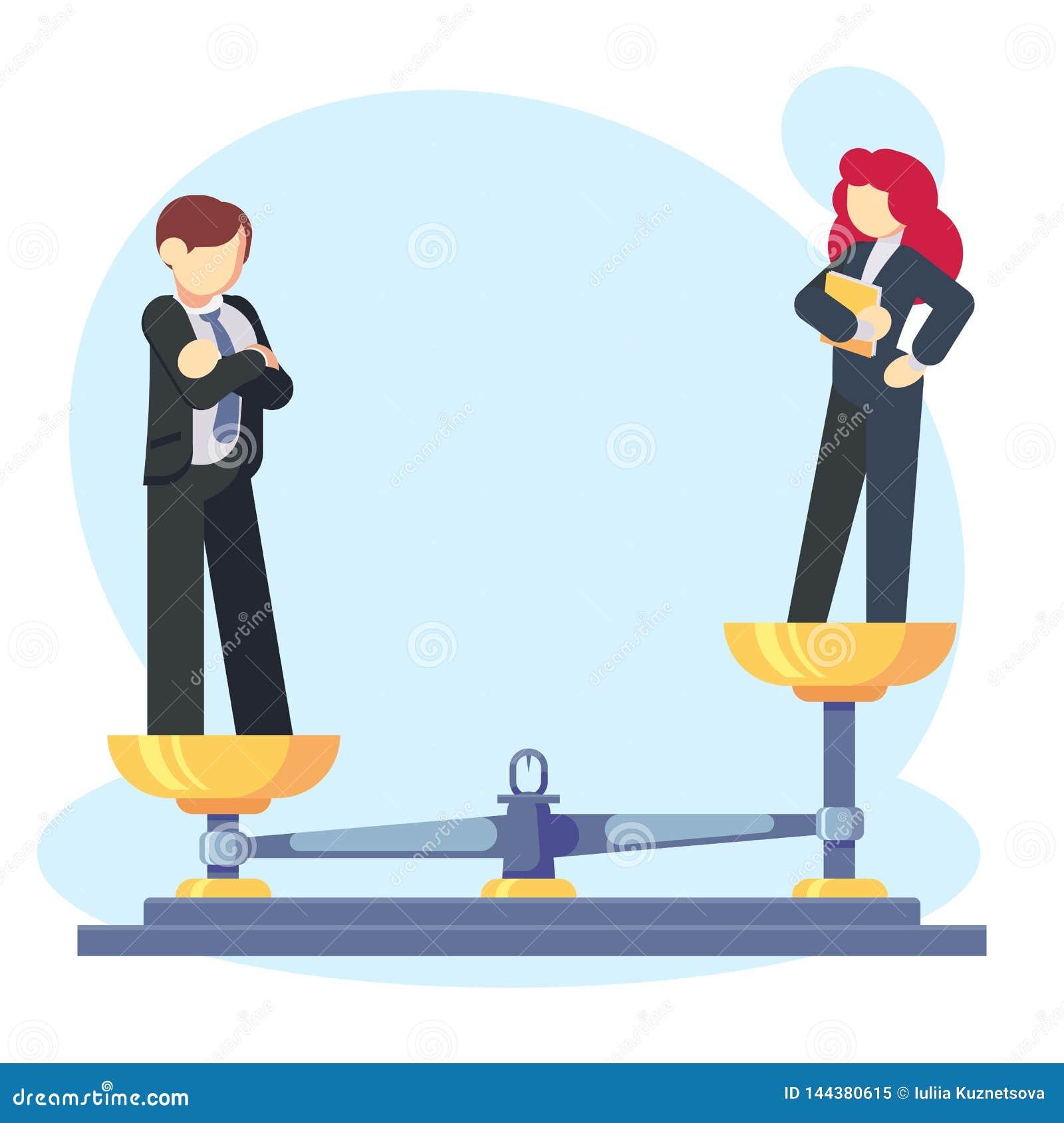 人妇女称与男性和女性,男性更称的概念 性别差距和不平等商人和