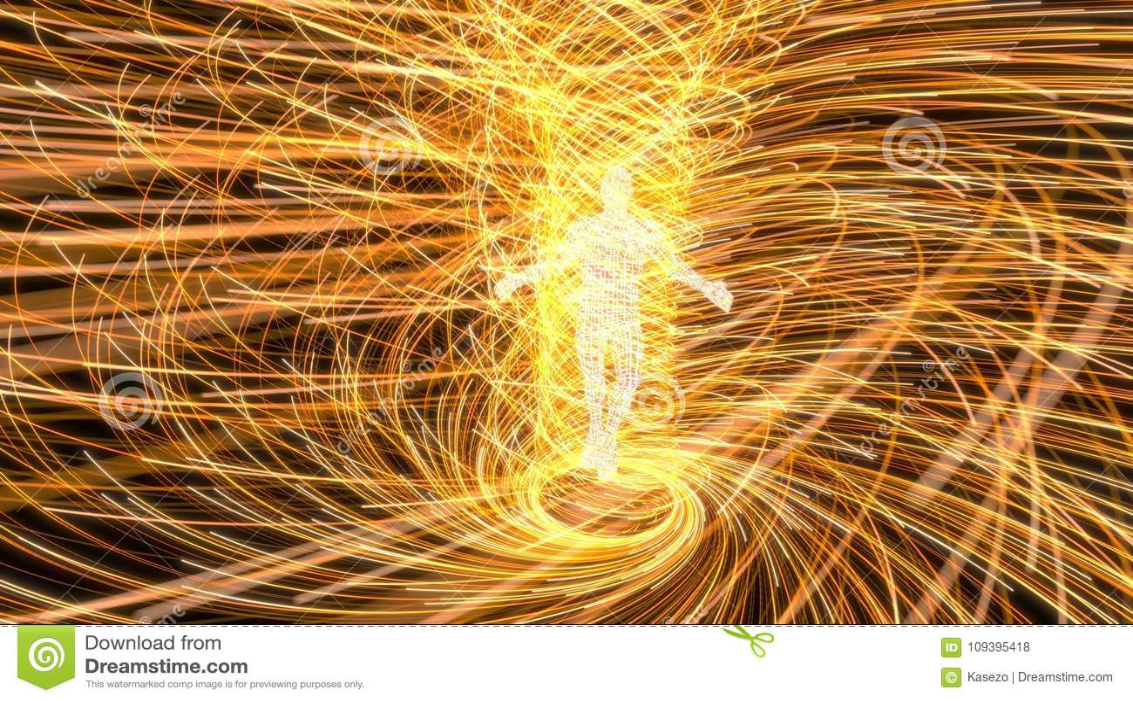 人工智能形象在黄色能量漩涡的中心 3d例证