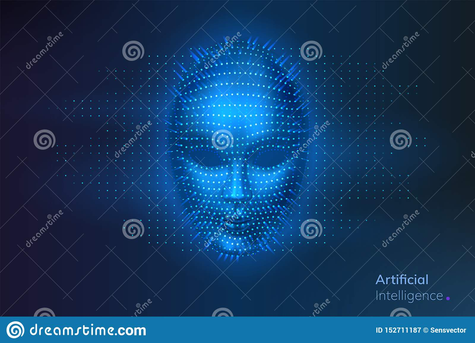 人工智能或AI,机器人数字面孔