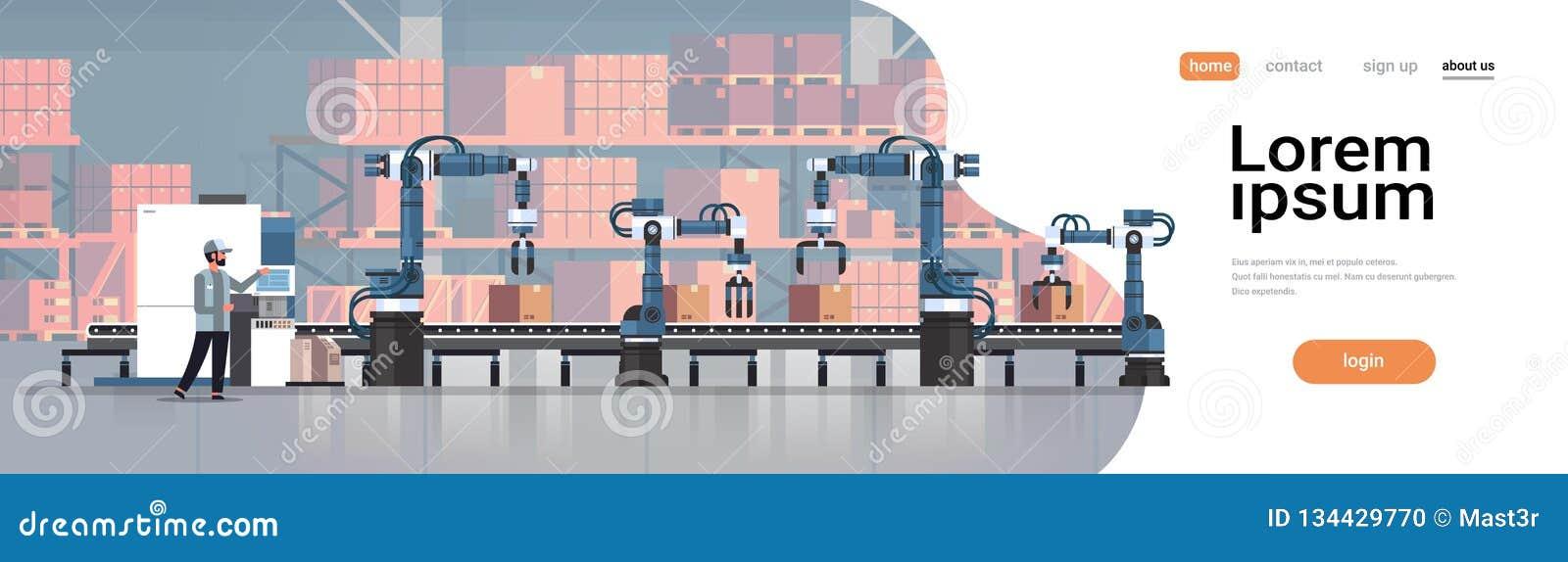 人工程师控制传送带线机器人手工厂自动化生产制造过程概念