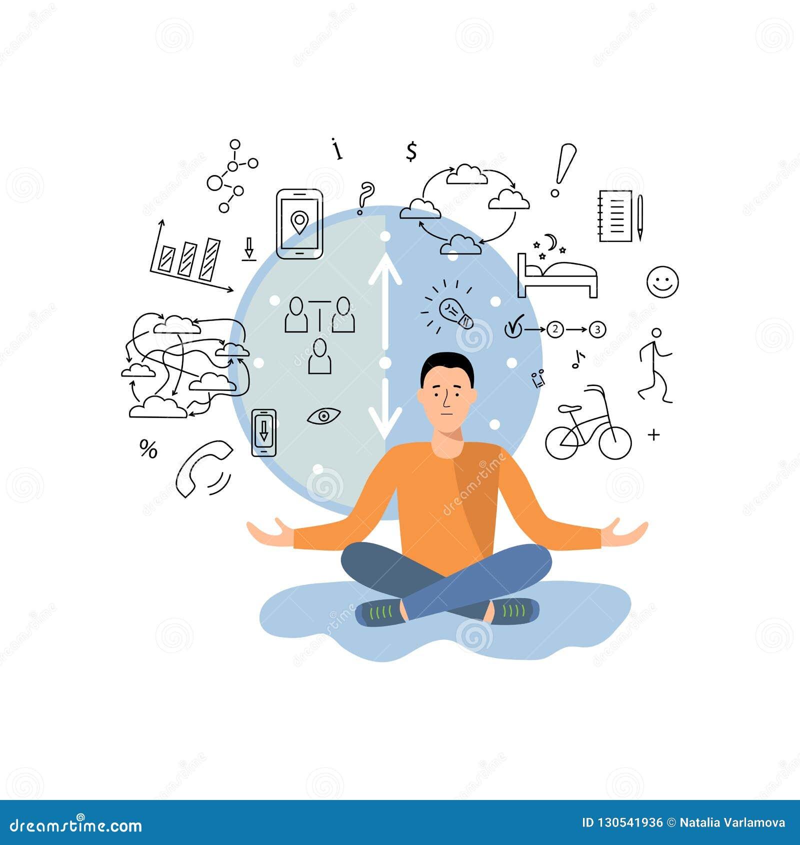 人平衡在工作之间,得到信息和休息,体育,其他活动
