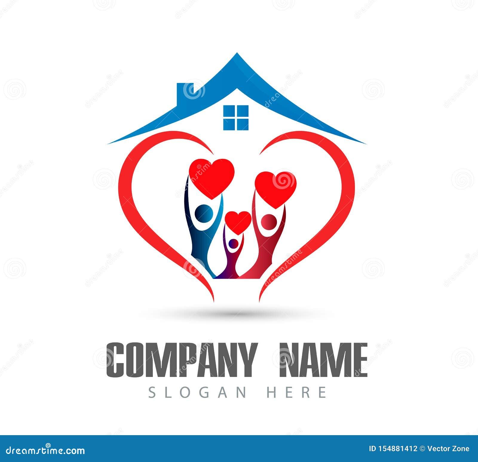 人庆祝happyness房子商标/爱联合愉快的心形的家庭房子商标的联合团队工作