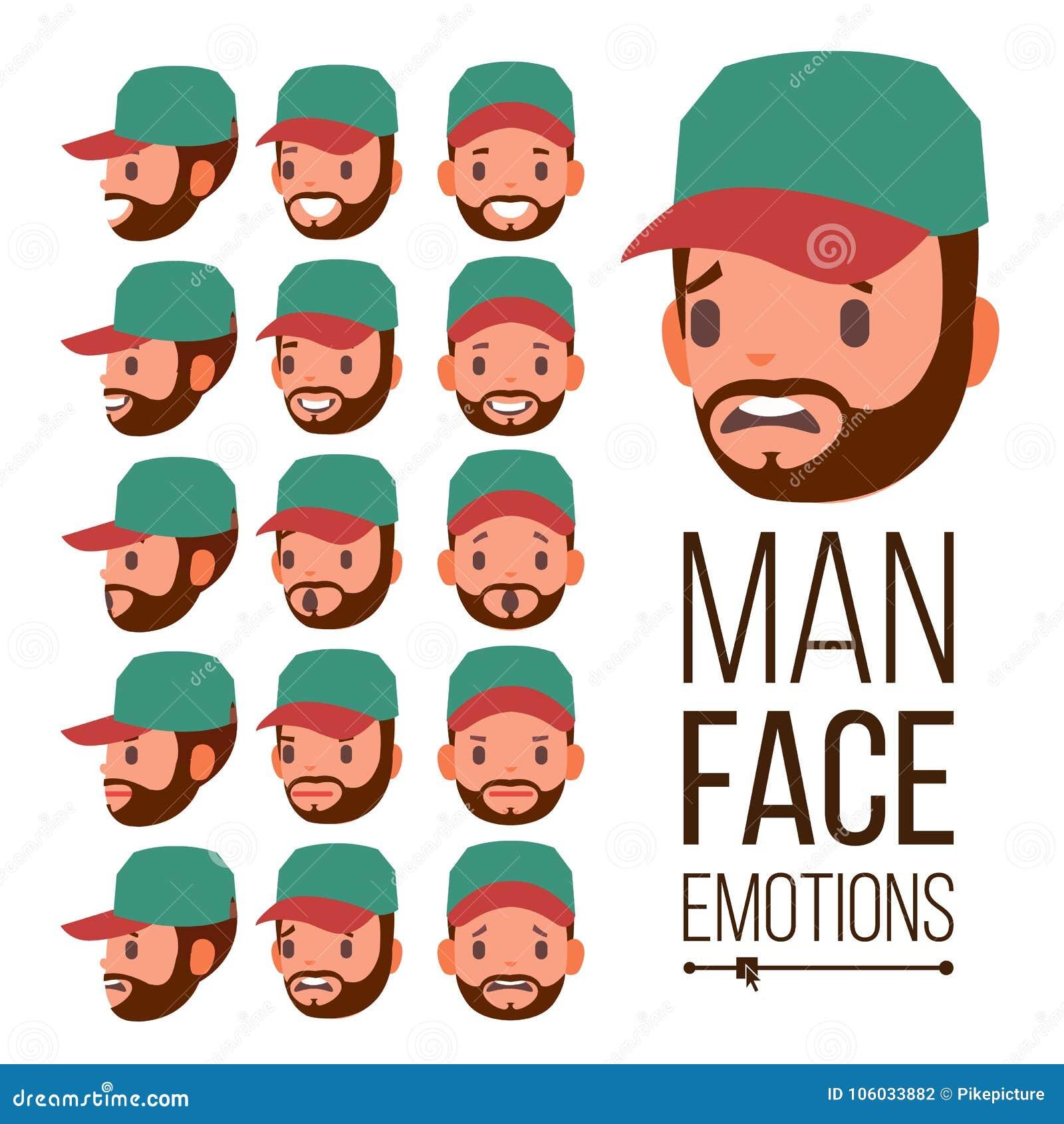 人情感传染媒介 情感面孔男性品种  面部不同的表达式 平的动画片例证