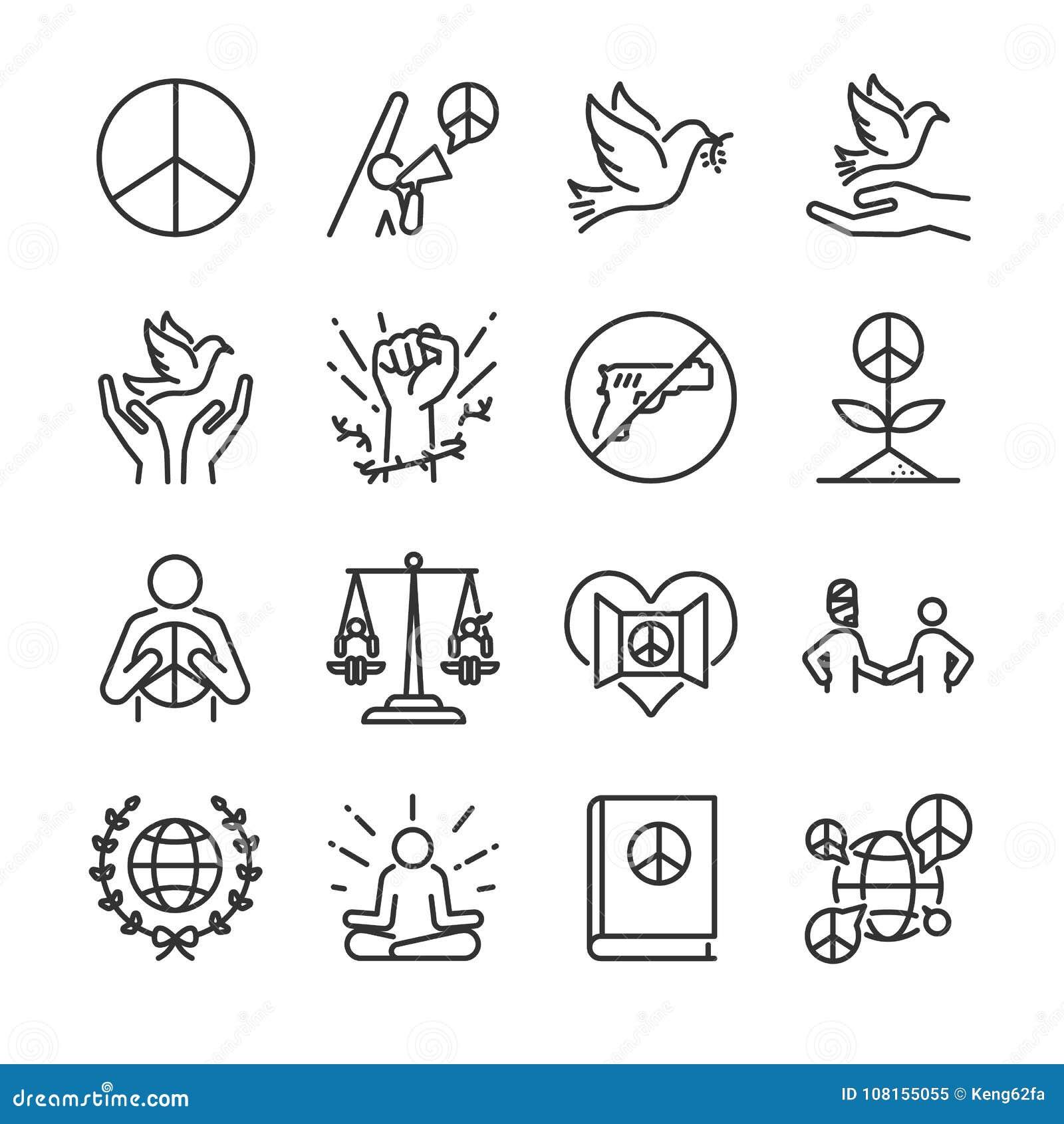 人权线象集合 包括象作为道德,和平,行动主义,鸠,自由,开放性心理,全球性和更多