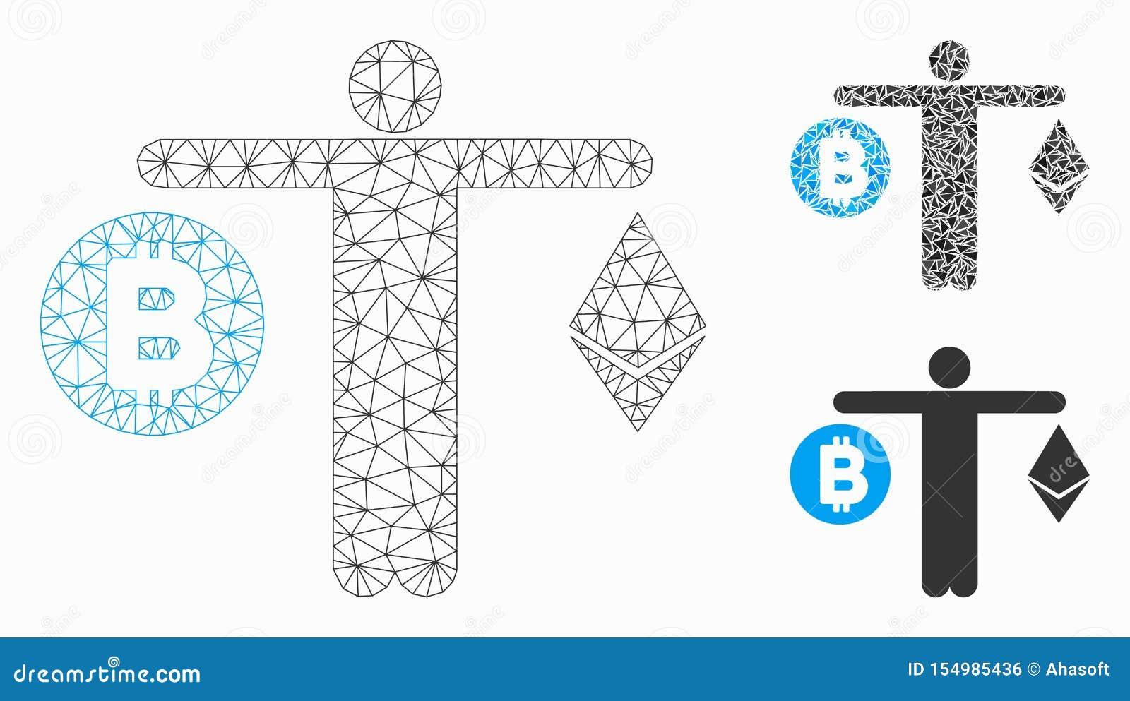 人比较Cryptocurrency传染媒介滤网第2个模型和三角马赛克象