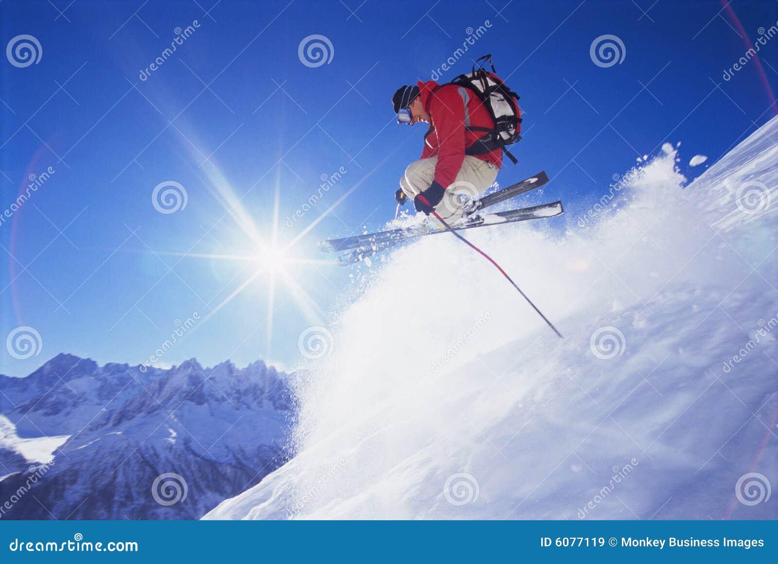 人滑雪年轻人