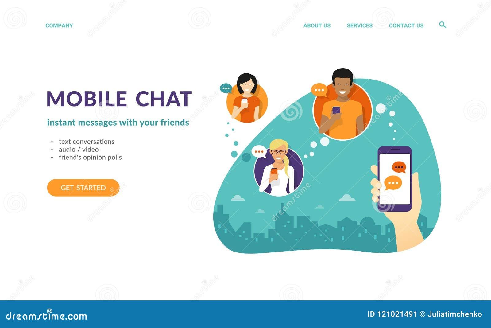 人的手举行智能手机和送消息到朋友通过流动信使app