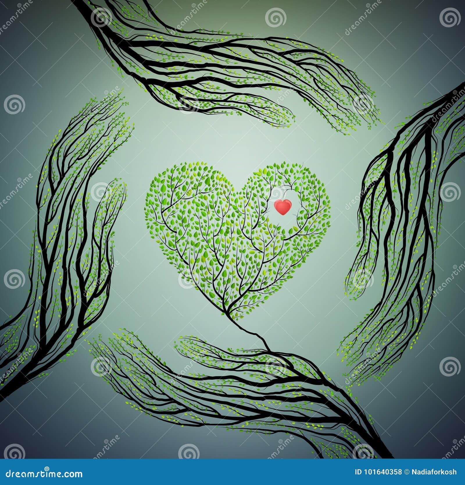 人的手看起来象树枝并且拿着树心脏,爱自然概念,保护树想法,
