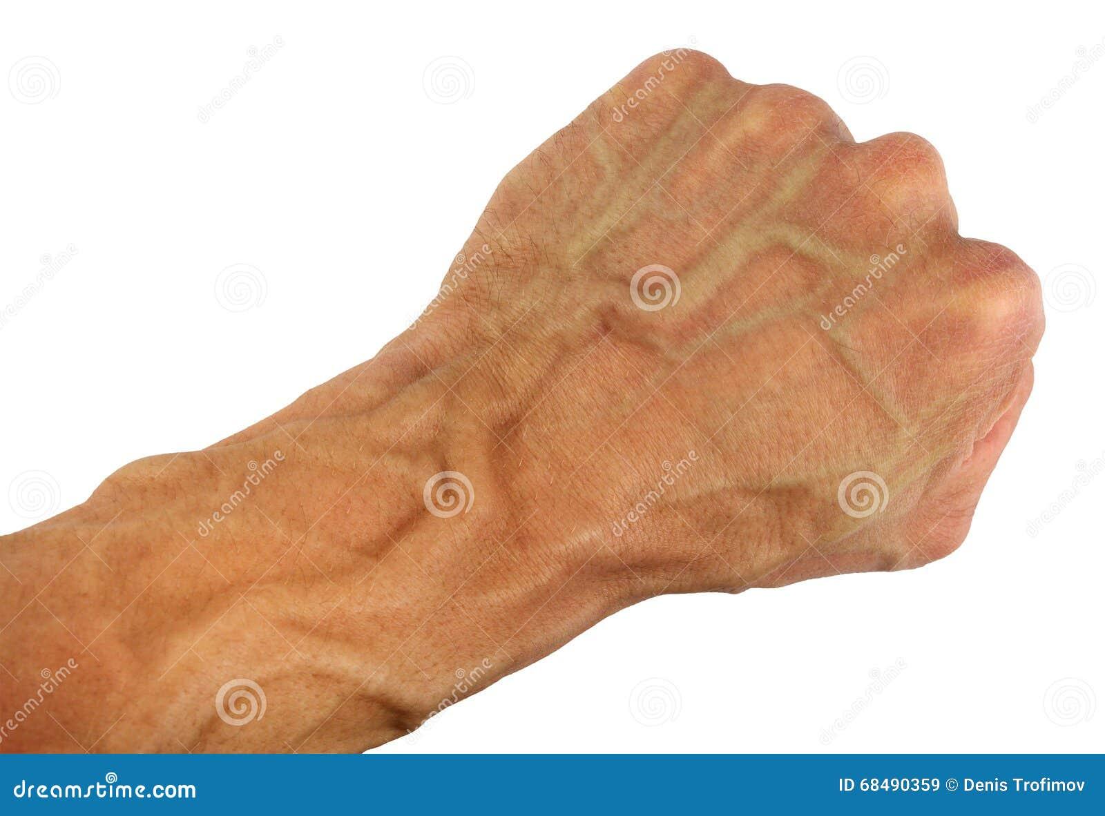 人的拳头和腕子有圆鼓的静脉的,被隔绝