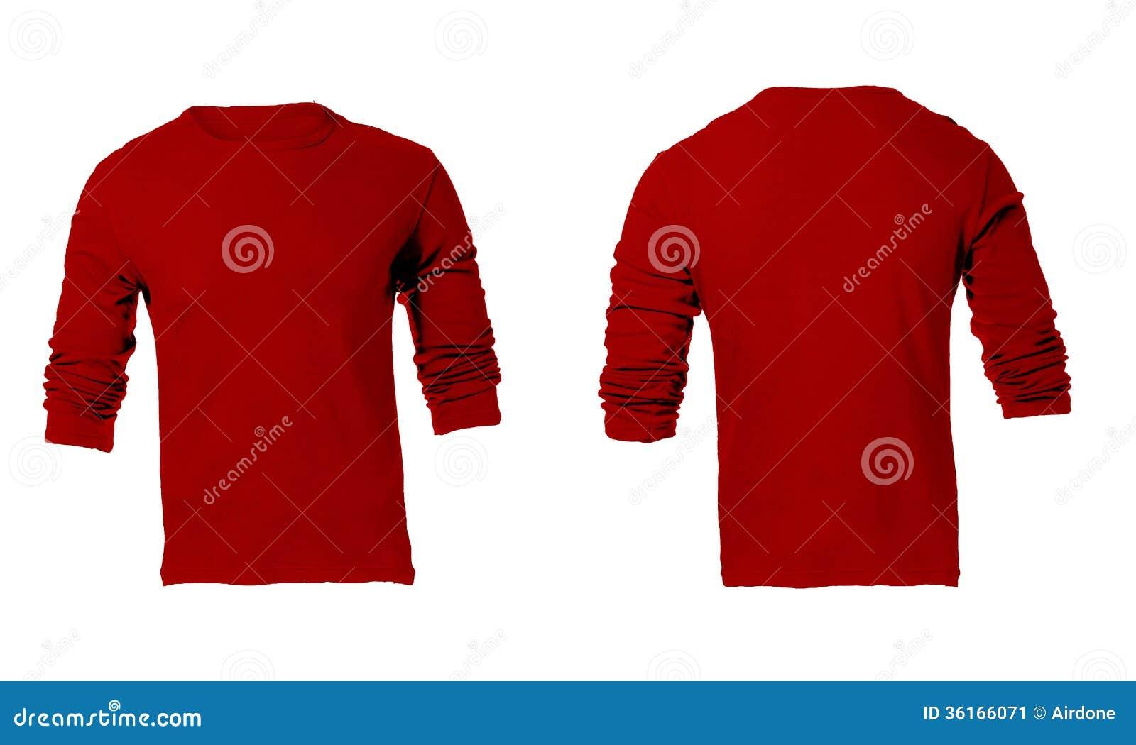 人的空白的红色长袖衬衣模板