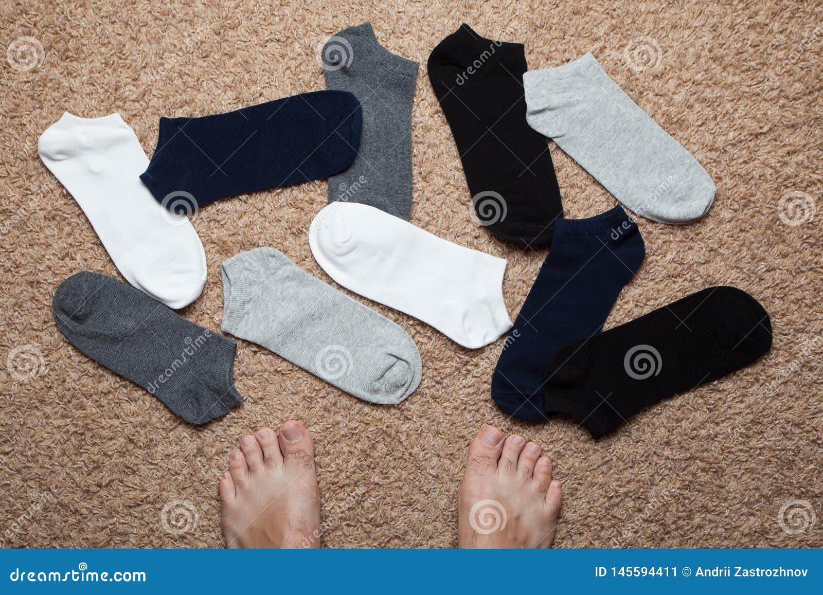 人的袜子和腿特写镜头 在家选择袜子