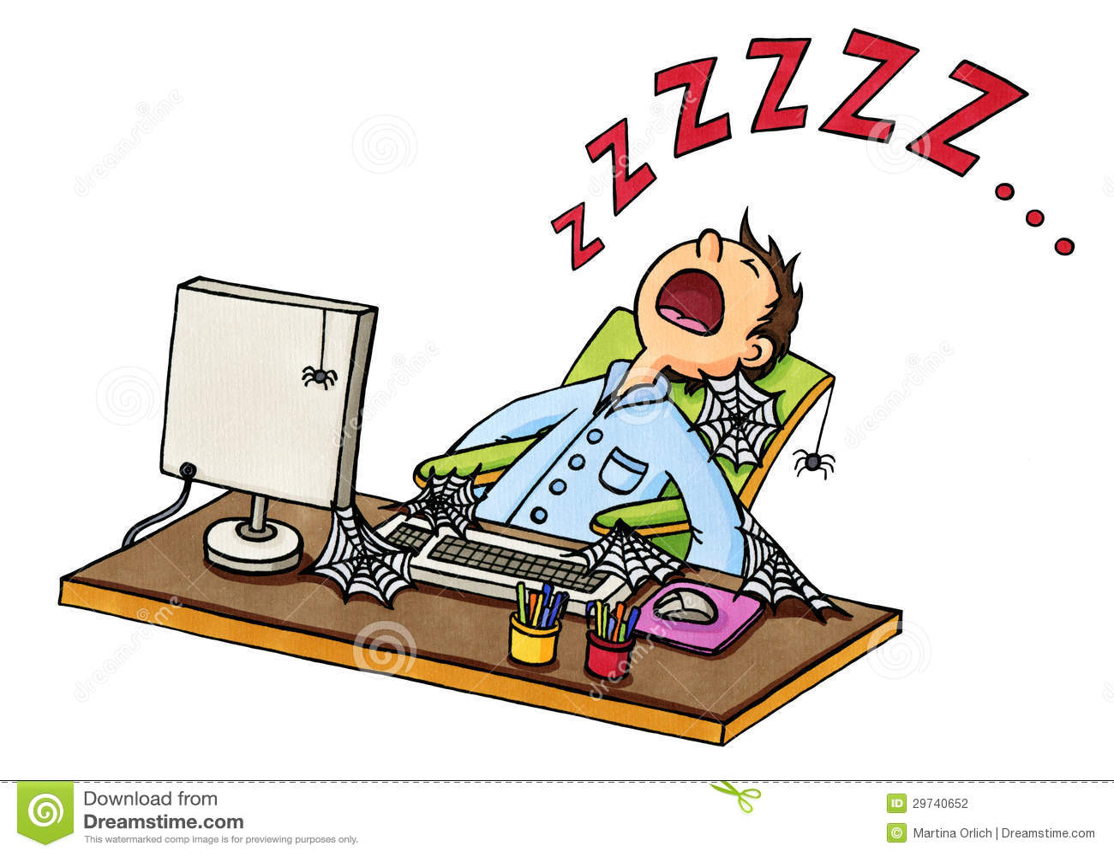 动画片人睡着的在计算机前面