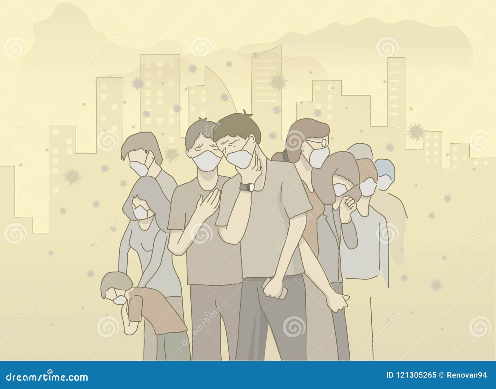 人穿戴面具的illistration避免大气污染