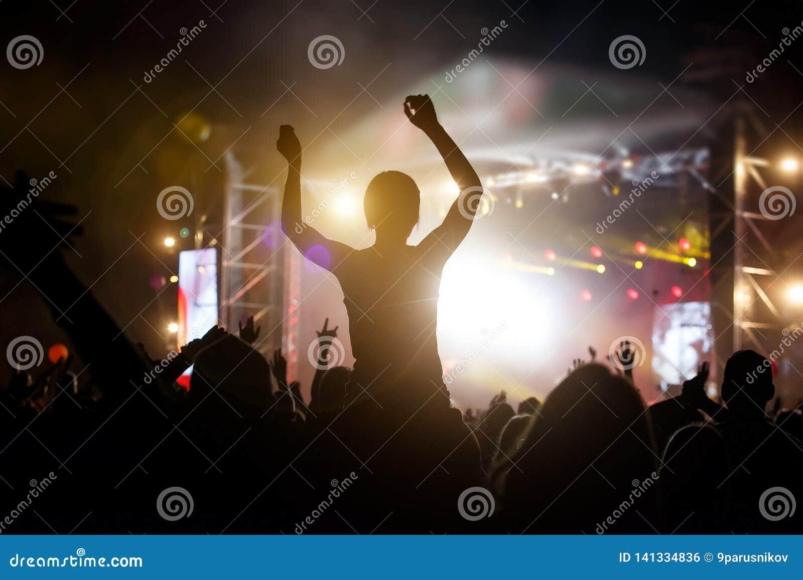 人群的照片,享受摇滚乐音乐会的人们,提高了手和拍手乐趣,活跃夜生活概念