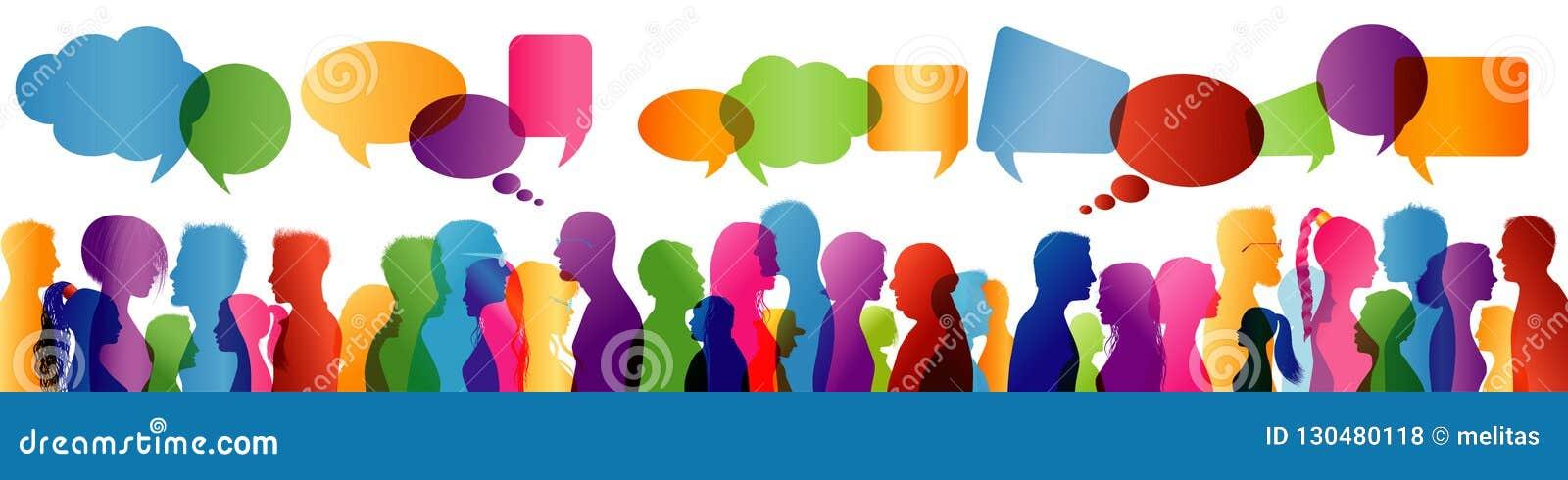 人群谈话 通信概念组人联系 人之间的通信 色的外形剪影 泡影图象人员演讲联系的向量