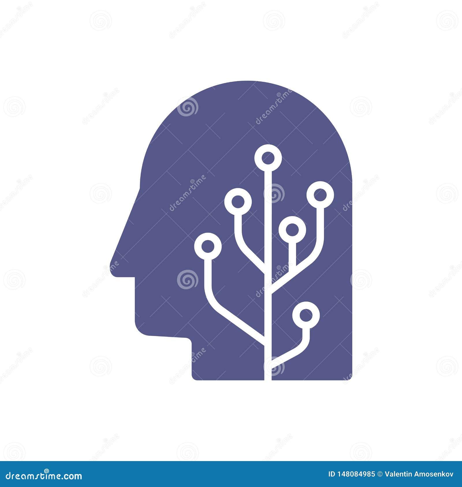 人脑有人工智能机器人顶头概念例证的头脑头