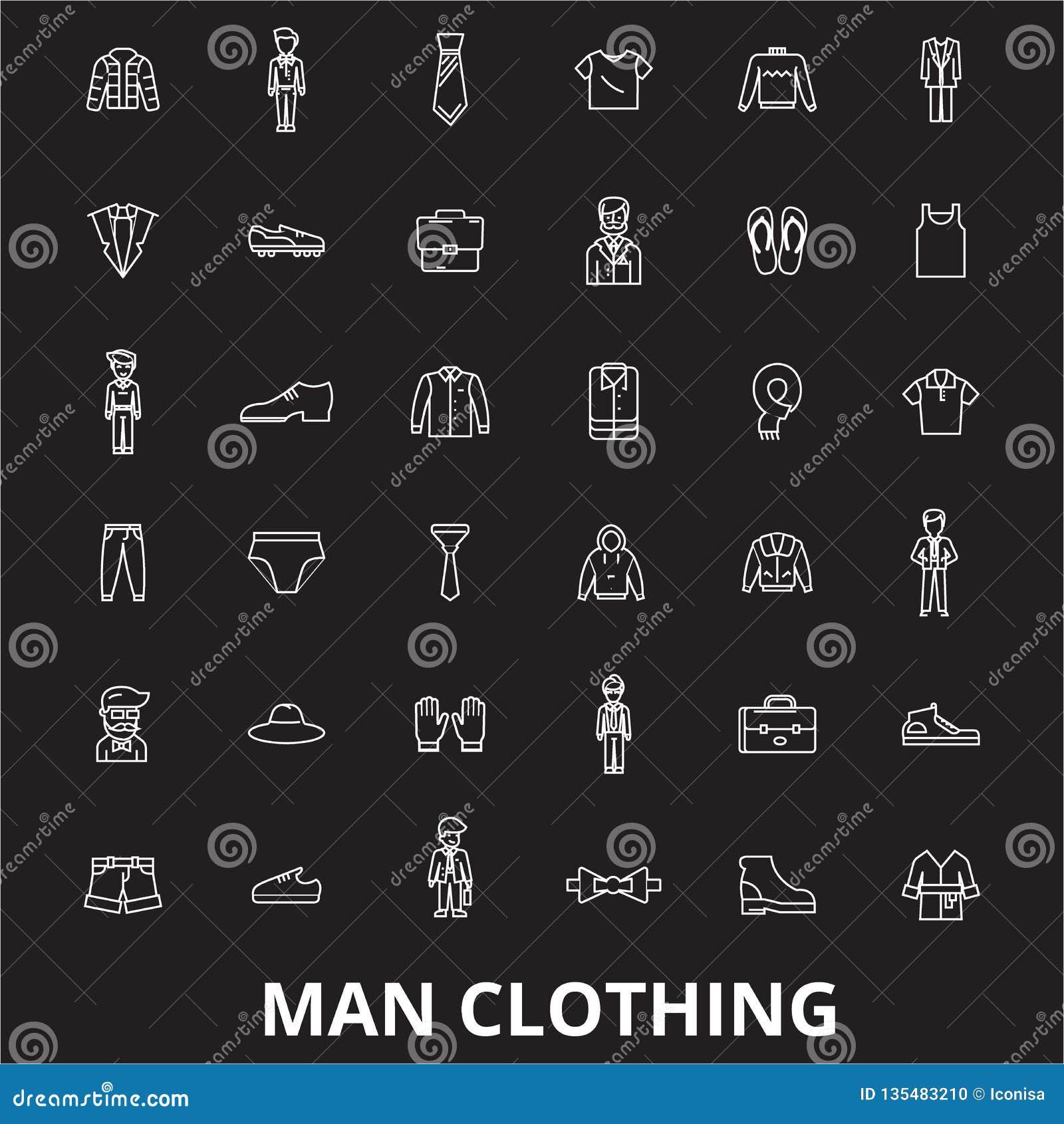 人衣物编辑可能的线象导航在黑背景的集合 人衣物白色概述例证,标志