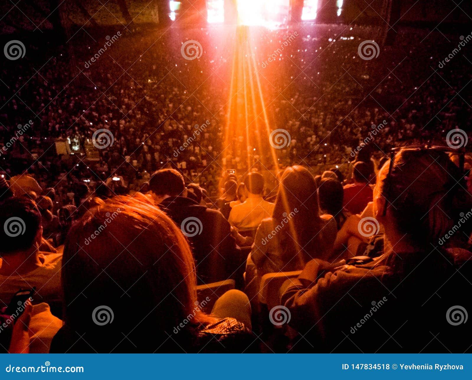 人观看的和听的摇滚音乐音乐会的背面图图象在竞技场论坛的在晚上