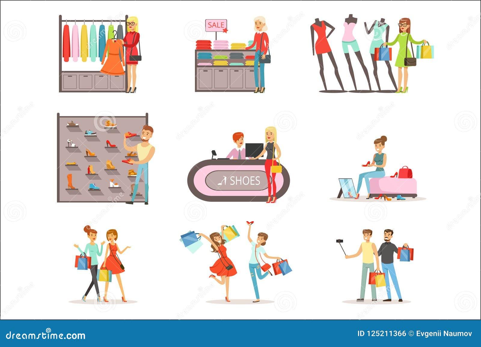 人购物的和买的衣裳和鞋子设置了,被隔绝的服装店内部五颜六色的传染媒介例证