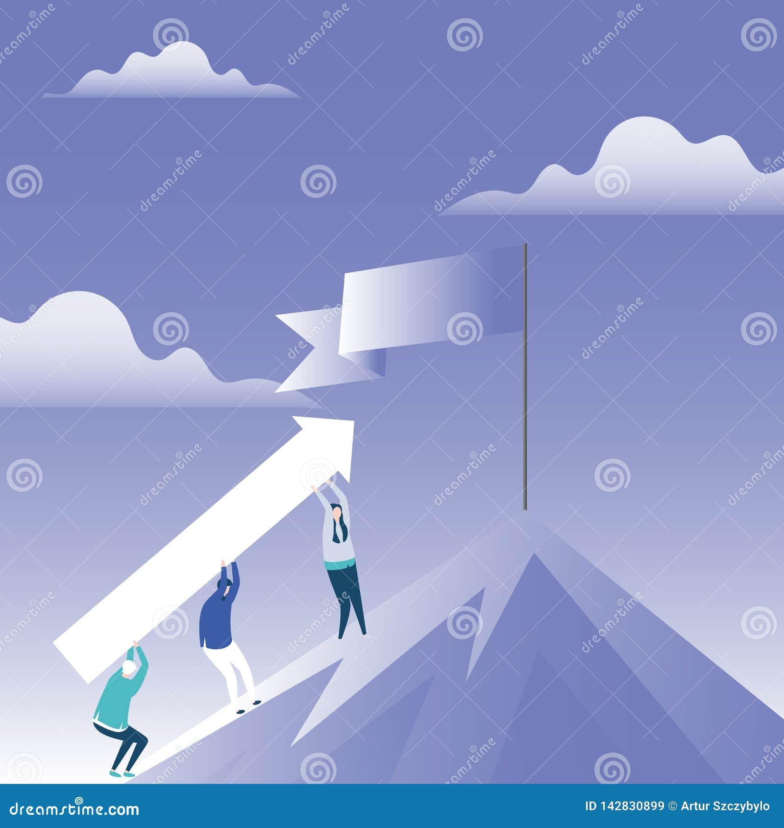 人运载的箭头的例证攀登与空白的被折叠的横幅的山的在站立在峰顶的波兰人