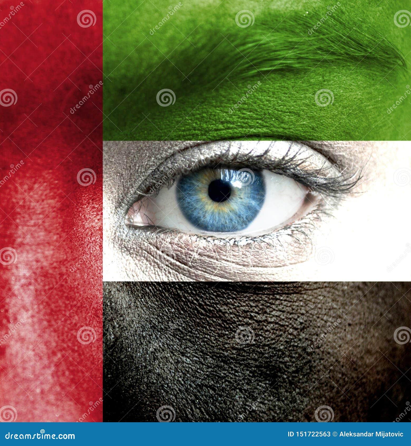 人面绘与阿拉伯联合酋长国的旗子