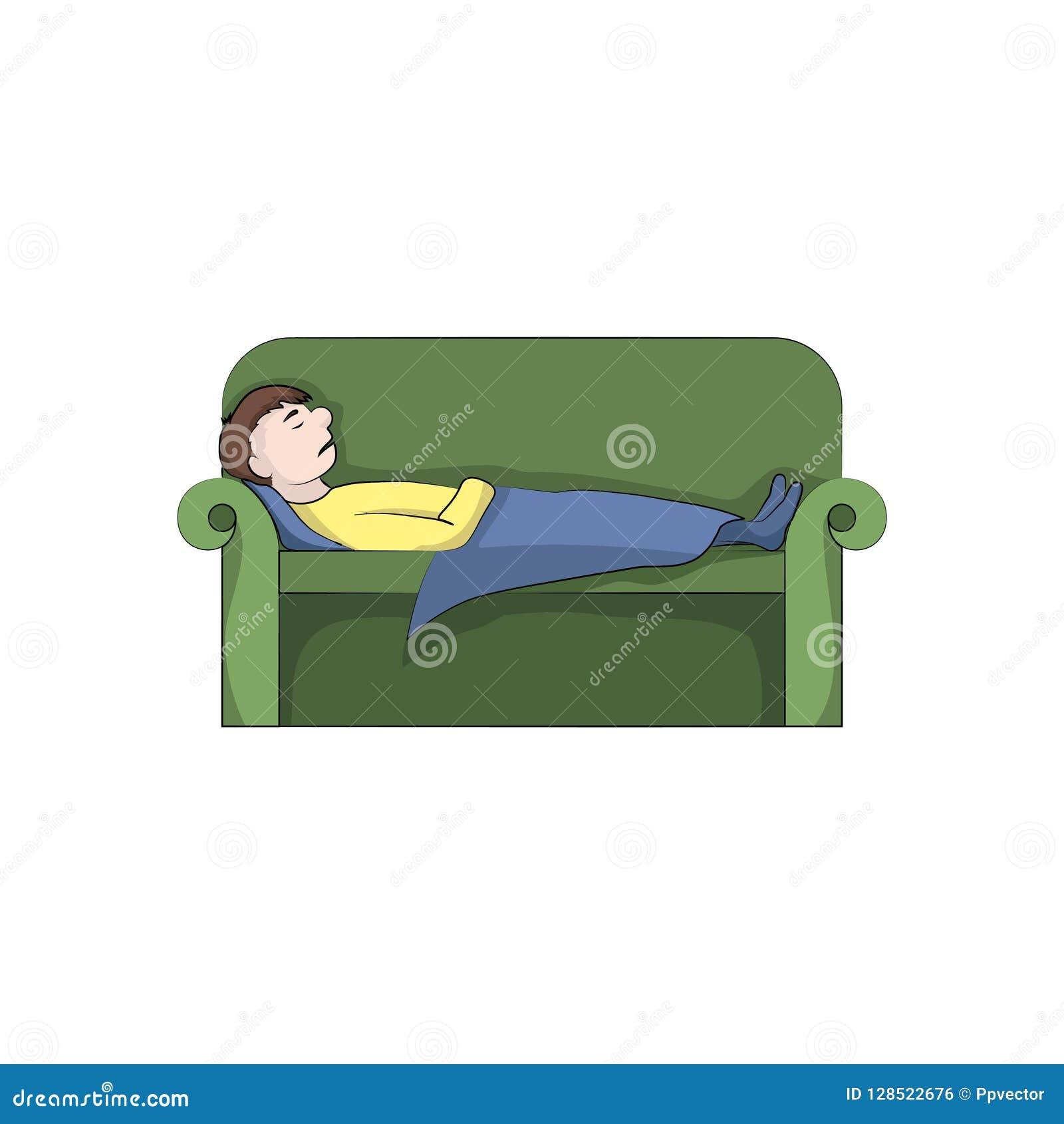 人,男孩人在长沙发睡觉 抽象颜色鱼例证向量