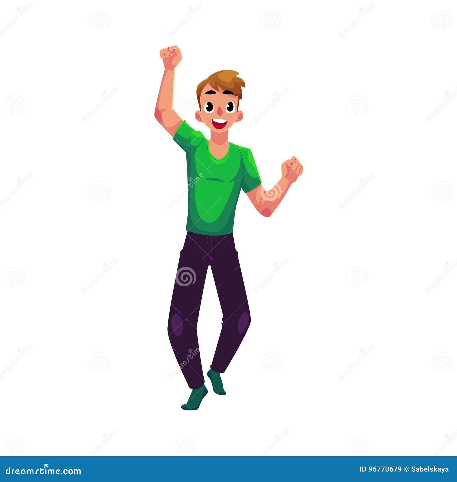 年轻人,男孩,人,欣喜,欢呼,跳跃在幸福,兴奋