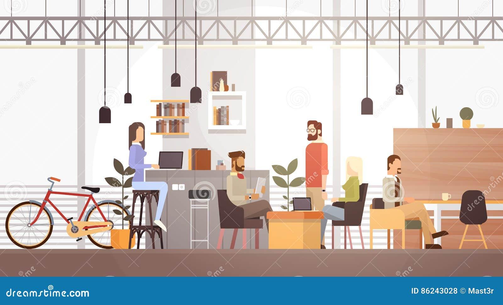 人们在共同工作中心大学现代工作场所内部的创造性的办公室