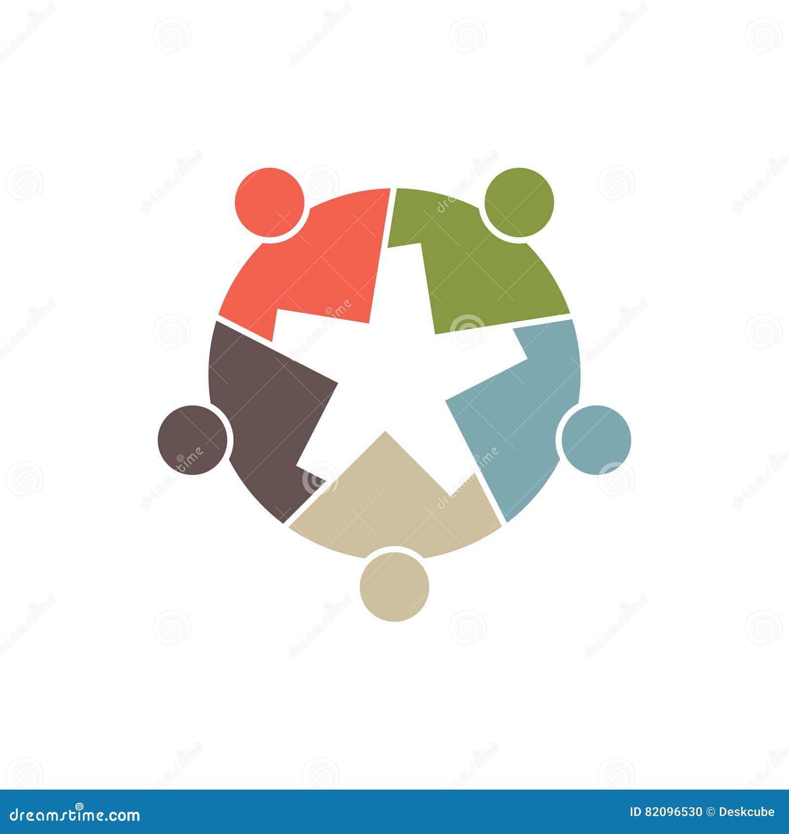 人们编组形成齿轮或星例证