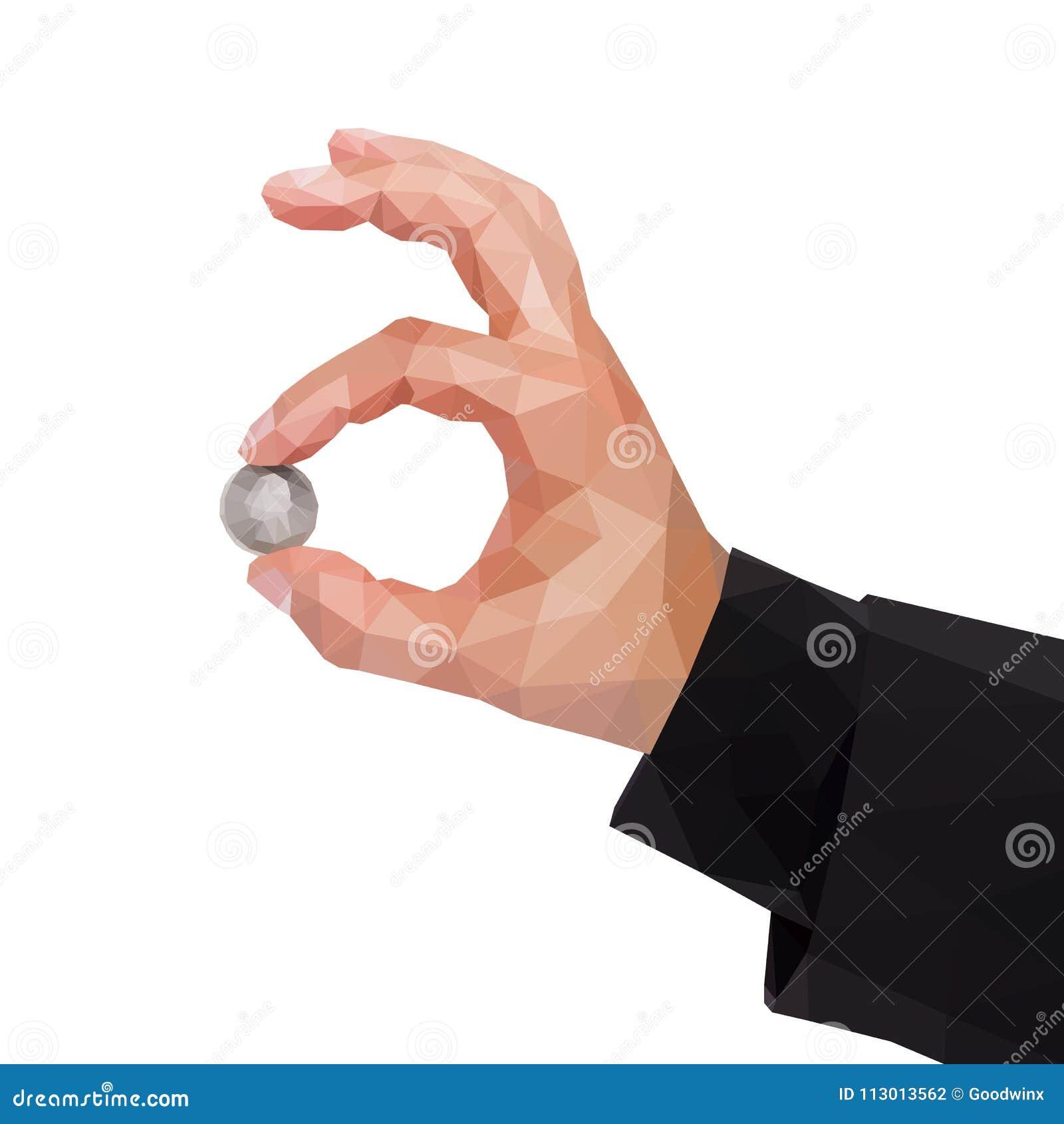 人` s多角形手举行在处所之间美国d的两个手指