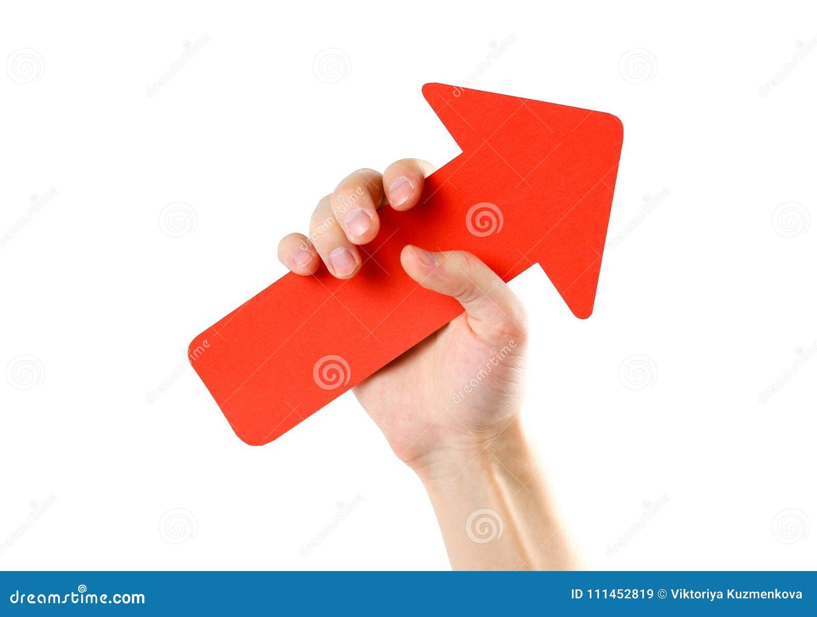 人` s手拿着一个大红色箭头 关闭 隔绝在wh